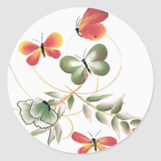 Colorful Butterflies Classic Round Sticker