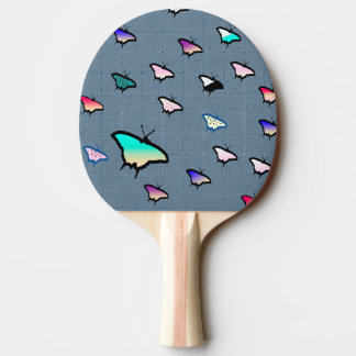 Colorful Butterflies Grayish Blue Ping Pong Paddle