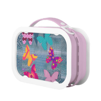 Colorful Butterflies in Silhouette Pink Lunch Box