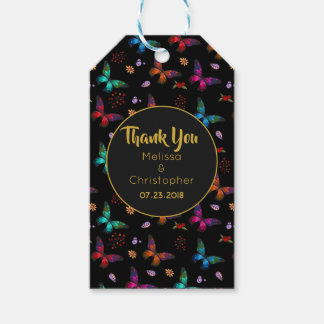 Colorful Butterflies Pattern on Black Wedding Gift Tags