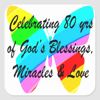 COLORFUL BUTTERFLY 80TH BIRTHDAY SQUARE STICKER