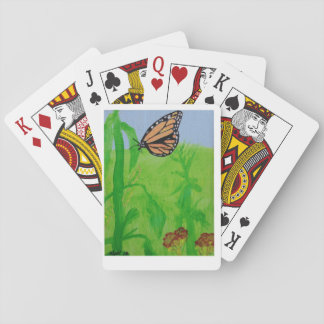 colorful butterfly in green garden playing cards