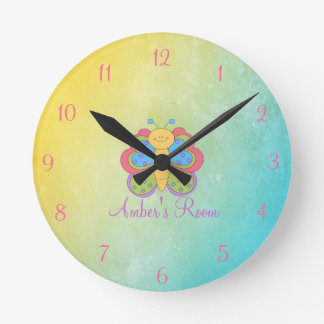 Colorful Butterfly Kids Bedroom Round Clock
