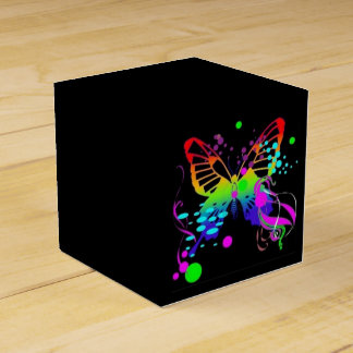 Colorful Butterfly on Black Party Favor Box Wedding Favour Box