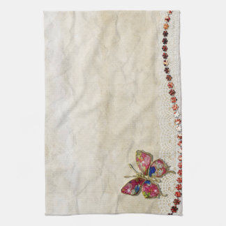 Colorful butterfly tea towel