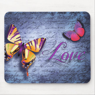 Colorful butterfly vintage love mouse pad