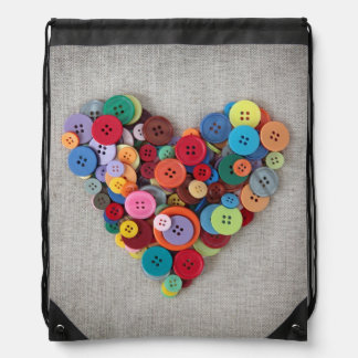 Colorful Buttons Heart Drawstring Bag