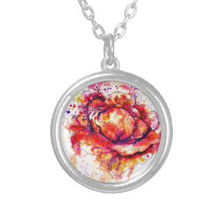 Colorful Cabbage Watercolor2 Silver Plated Necklace