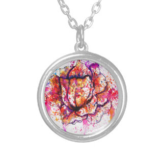 Colorful Cabbage Watercolor Silver Plated Necklace