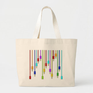 Colorful cables large tote bag
