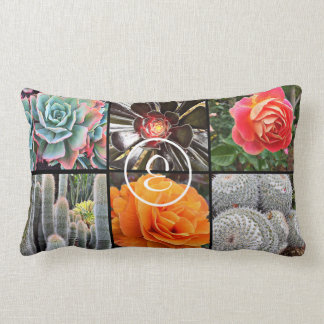 Colorful cacti and roses photo custom monogram lumbar cushion