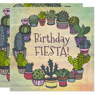 Colorful Cactus Birthday Fiesta Card