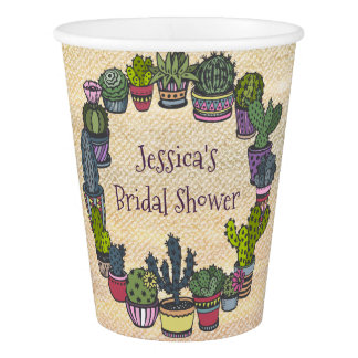 Colorful Cactus Bridal Shower Paper Cup
