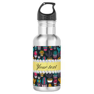 Colorful Cactus Faux Gold Bling Diamonds 532 Ml Water Bottle
