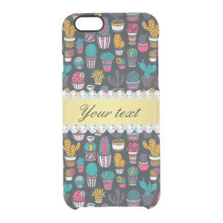 Colorful Cactus Faux Gold Bling Diamonds Clear iPhone 6/6S Case