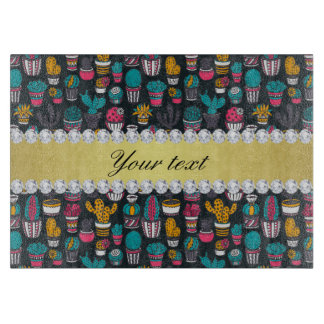 Colorful Cactus Faux Gold Bling Diamonds Cutting Board