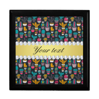 Colorful Cactus Faux Gold Bling Diamonds Gift Box