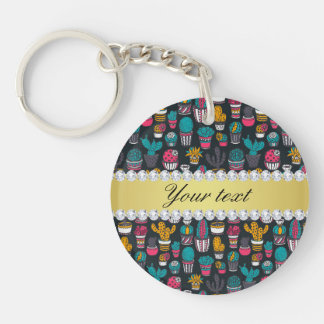 Colorful Cactus Faux Gold Bling Diamonds Key Ring