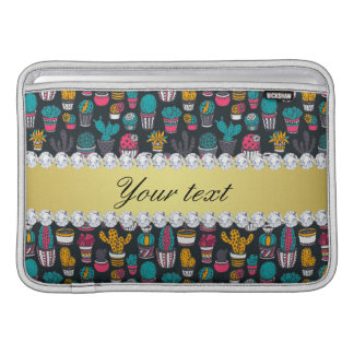 Colorful Cactus Faux Gold Bling Diamonds MacBook Sleeve
