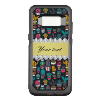 Colorful Cactus Faux Gold Bling Diamonds OtterBox Commuter Samsung Galaxy S8 Case