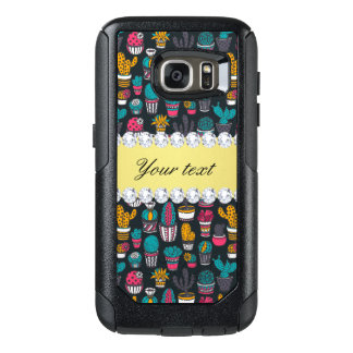 Colorful Cactus Faux Gold Bling Diamonds OtterBox Samsung Galaxy S7 Case