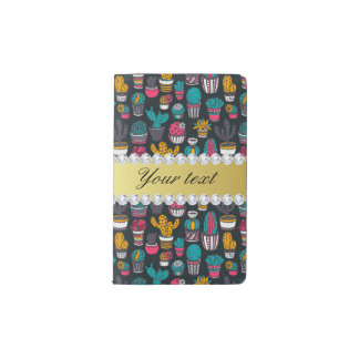 Colorful Cactus Faux Gold Bling Diamonds Pocket Moleskine Notebook