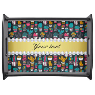 Colorful Cactus Faux Gold Bling Diamonds Serving Tray