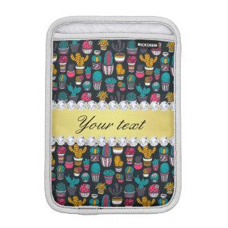 Colorful Cactus Faux Gold Bling Diamonds Sleeve For iPad Mini