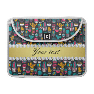 Colorful Cactus Faux Gold Bling Diamonds Sleeve For MacBook Pro