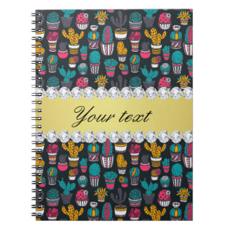 Colorful Cactus Faux Gold Bling Diamonds Spiral Notebook