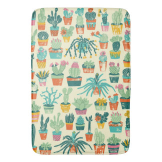 Colorful Cactus Flower Pattern Bath Mat