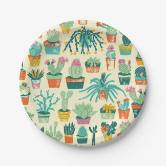 Colorful Cactus Flower Pattern Paper Plate