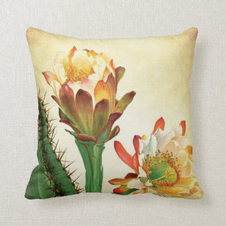 Colorful Cactus Flower Vintage Botanical Throw Cushion