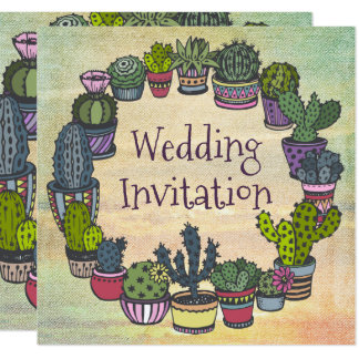 Colorful Cactus Wedding Card