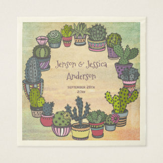 Colorful Cactus Wedding Personalized Paper Serviettes