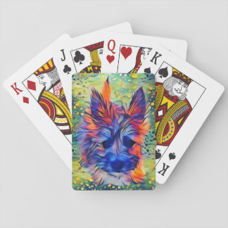 Colorful Cairn Puppy Playing Cards, Multicolor Playing Cards
