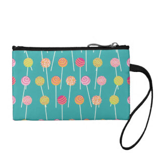 Colorful Cake Pops on Teal Pattern Change Purses