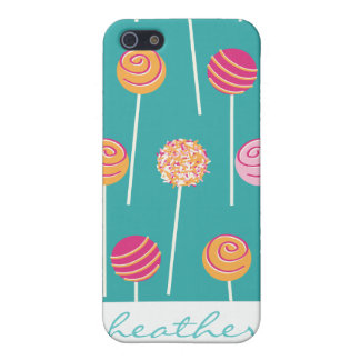 Colorful Cake Pops on Teal Pattern iPhone 5/5S Cover