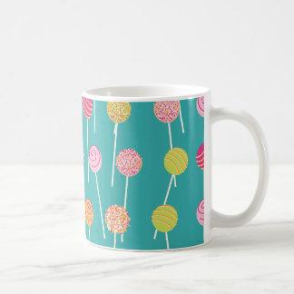 Colorful Cake Pops on Teal Pattern Mug