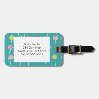 Colorful Cake Pops on Teal Pattern Tag For Bags