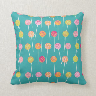 Colorful Cake Pops on Teal Pattern Throw Cushion