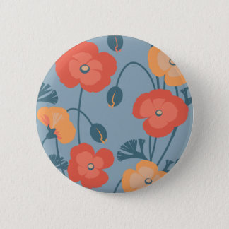 Colorful California Poppy Pattern 6 Cm Round Badge
