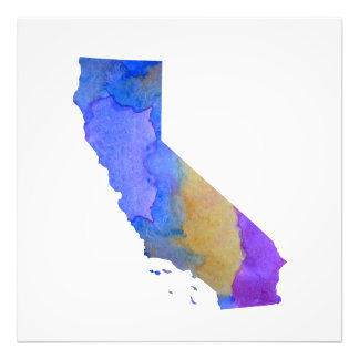 Colorful california silhouette photo print