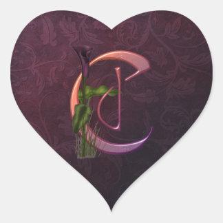 Colorful Calla Initial C Heart Stickers