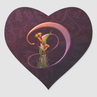 Colorful Calla Initial D Heart Sticker