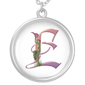 Colorful Calla Initial E Round Pendant Necklace