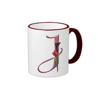 Colorful Calla Initial J Ringer Coffee Mug