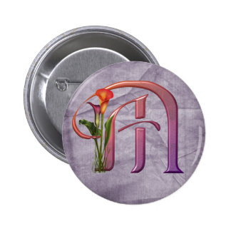 Colorful Calla Initial M 6 Cm Round Badge