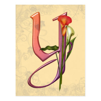 Colorful Calla Initial Y Postcard
