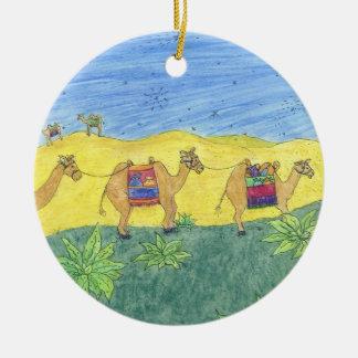 Colorful Camels Round Ceramic Decoration